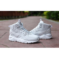 Nike Air Huarache High Top Leather All White | envió Gratis