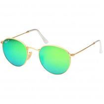 Óculos Ray-ban Rb3447 Round Dourado Verde Espelhado Original