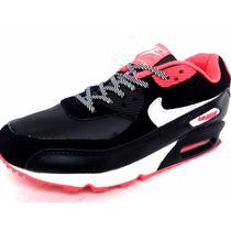 Mujer Tenis Nike Air Max 90 Tape Womens Black Salmon & White