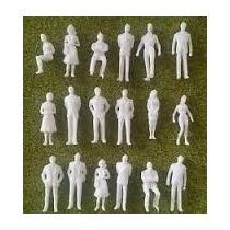 Lote De 50 Personas Blancos Personajes Maqueta Esc 1:100