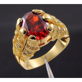 Anel Masculino Aro 30 Folheado Em Ouro Pedra Granada J2111c