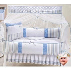 Kit Berço Protetor Berço Enxoval Bebê Menino Azul Listrado