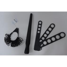Aneleira Medidor De Anel Régua Plástico 3 Peças
