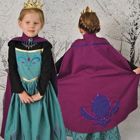 Vestido Frozen Rainha Elsa Coroação Festa + Capa + Tiara