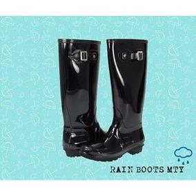Botas De Lluvia Agua Negras / Rain Boots De Moda