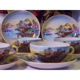 Antiguo Juego De Tazas De Porcelana Sellado Año 1900