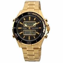 Relógio Technos Analógico E Digital Dourado+frete
