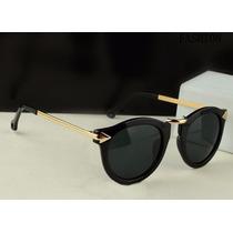 Óculos De Sol Retrô Dourado C Preto Onça Feminino Importado