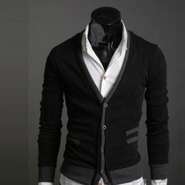 Sweater Hombre Estilo Cuello V Slim Fit Moda Elegante Formal