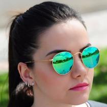 Óculos Redondo Lente Verde Espelhada Retro Todos Acessorios