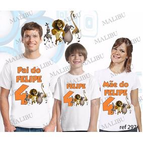 Lembrança De Aniversario Madagascar Camiseta Kit Com 3