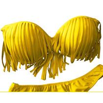 3 Bikinis Con Flecos Y Taza Soft Malla Traje De Baño X Mayor