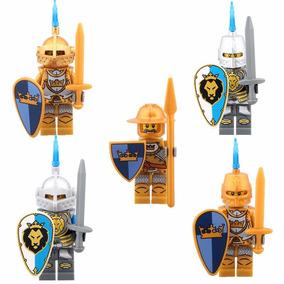 Kit 5 Minifiguras Cavaleiros Medieval - Compatível Com Lego