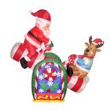 Santa Claus Y Reno Subibaja Inflable 4 Pies Adorno Navideño