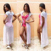 Saida De Praia/saída De Banho Croche/linha/tricô Branco E Of