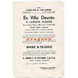 Folleto Velarde Remate Casa Villa Devoto Buenos Aires 1942