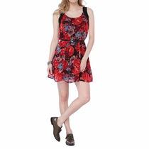 Vestido Vermelho Floral Malwee Com Cinto.