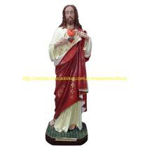 Escultura Jesus Cristo Sagrado Coração Imagem 60cm Especial
