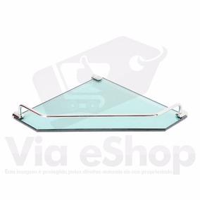 2x Porta Shampoo Prateleira Cantoneira Vidro Esverdeado