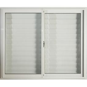 Ventana Aluminio Blanco 150 X 110 Con Vidrio Y Postigo