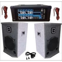 Combo Amplificador Con Usb + 2 Bafles De 2 Vias Con Tw Bala