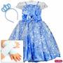Vestido Elsa Frozen Princesa Infantil Luxo Com Tiara E Luvas