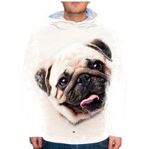Blusão Cachorro Pug Bege Unissex Com Capuz