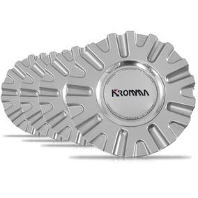 Jogo 4 Calota Centro Miolo Roda Kr1560 Prata Emblema Kromma