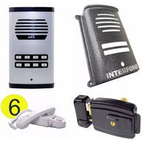 Kit Coletivo 8 Pontos + 6 Interfones + Fechadura + Protetor