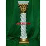 Columna De Yeso Salomónica De 80 Cm. Patinada Oro