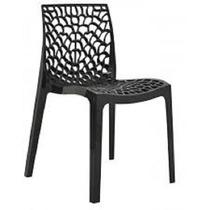 04 Cadeiras Preta Gruvyer Polipropileno Modelo Italiano