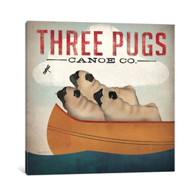 Pintura Arte Three Pugs In A Canoe V.3 By Ryan Fowler, 26x
