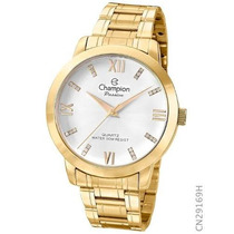 Relógio Champion Dourado Feminino Cn29169h Original Kj