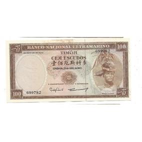 Timor: Bela Cédula De 100 Escudos 1963 Fe C/ Mancha