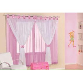 Cortina Infantil Rosa/pink/azul/branca P Quarto 2 Mts
