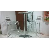 Conjunto Bar De Aluminio - Juego - Mesa Y Dos Sillas