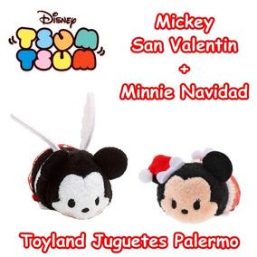 Peluches Tsum Tsum X2! Mickey San Valentin + Minnie Navidad!