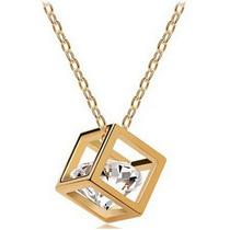 Dije Cristal Swarovski Elements Cubo Con Diamante