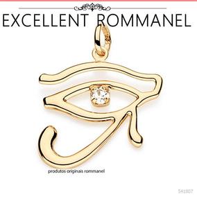 Pingente Olho Horus Liso Cristal Fol. Ouro 18k Rommanel
