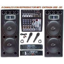 Equipo De Audio Completo 2 Columnas +ampli + Mixer Usb +mic