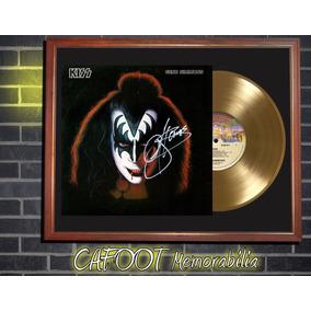 Kiss Gene Simmons Tapa Lp Firmada Y Disco Oro Enmarcados