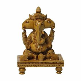 Escultura Ganesha Sentado Mesa Em Madeira Com 25 Cm (12838)