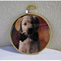 Enfeite Quadro Estilo Camafeu Cachorro Com Rosa Em Vidro