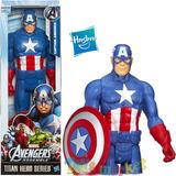 Muñeco Capitan America 30 Cm Con Escudo Marvel Titan Hasbro