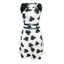 Vestido Sin Mangas Estampado Dama Mujer Bco/ngo 8263 Zoara