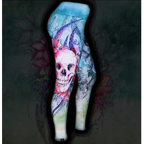 Calça Legging Printfull Skull Watercolor Tattoo Caveira Rock