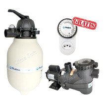 Kit Filtro P/ Piscinas V-40 Pooltec + Moto Bomba 1/2 + Timer