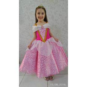 Fantasia Princesa Aurora Bela Adormecida Luxo Com Luva Brind