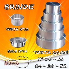 Forma De Bolo Torta 10 Cm Em Alumínio Kit Jg 5 Pçs +brinde