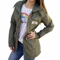 Campera Militar Tipo Parka Escudos Parche Mujer The Big Shop